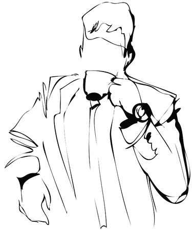 hombre tomando cafe: un hombre boceto consumo de caf�