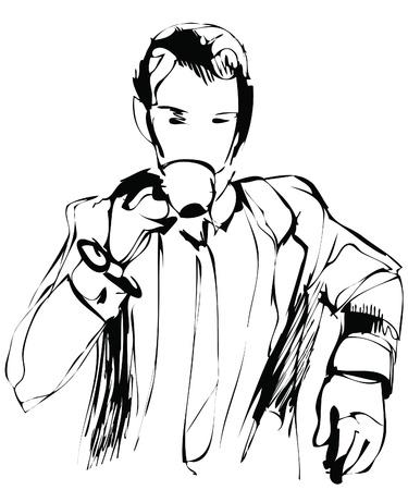 a man drinking morning tea Stock Vector - 13288453
