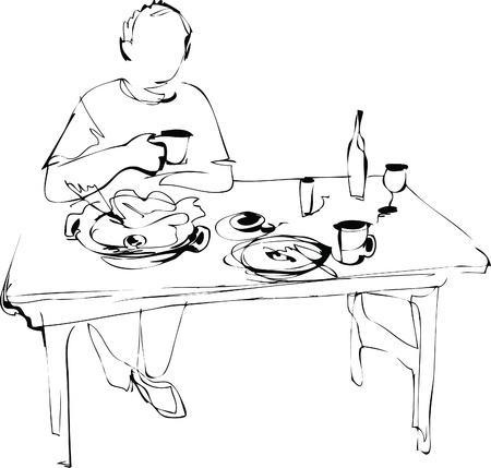 eats: a man eats at the table