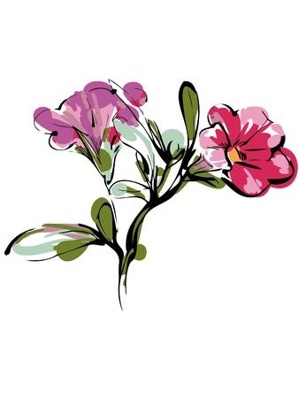 mazzo di fiori: uno schizzo di ramo con due boccioli rosa e foglie