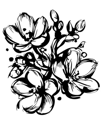 blackly: a blackly white sketch of spring colors three buds