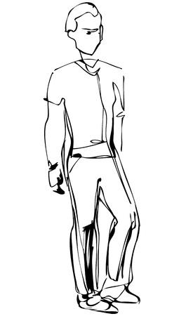 fellow: sketch of standing fellow full length Illustration