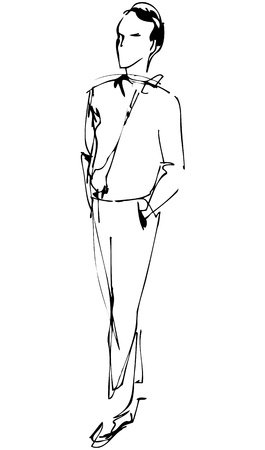 a fellow: fellow full length hand in the pockets  Illustration
