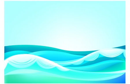 waves of the ocean and blue sky Illustration
