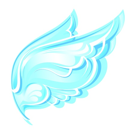 blue wings on a white background