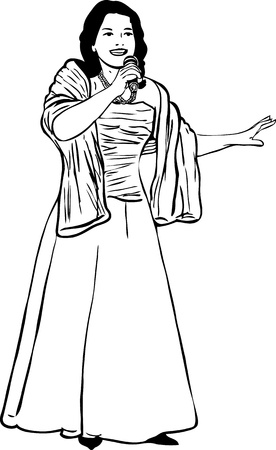 woman in fur coat:  of girl with a microphone that sings