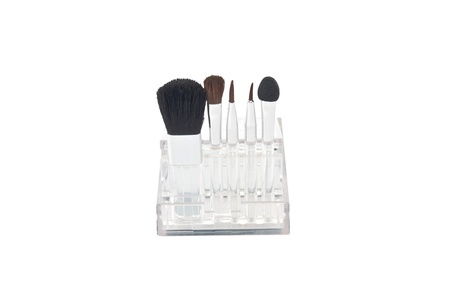 set of brushes for makeup in a transparent box photo