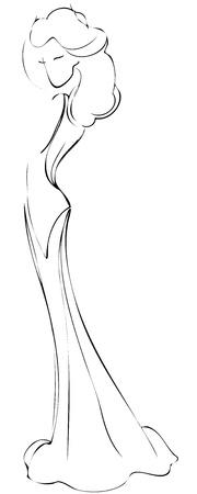 Эскиз девушки для платья