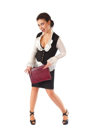 a Girl in a business suit with a folder photo