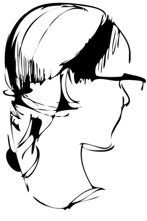 spectacled: a sketch to the portrait of girl of blonde spectacled