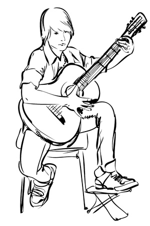 schets van jongen te spelen op de gitaar op een witte achtergrond Vector Illustratie
