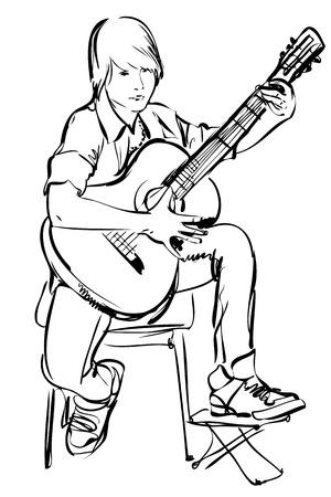 esbozo de niño jugando con la guitarra sobre fondo blanco