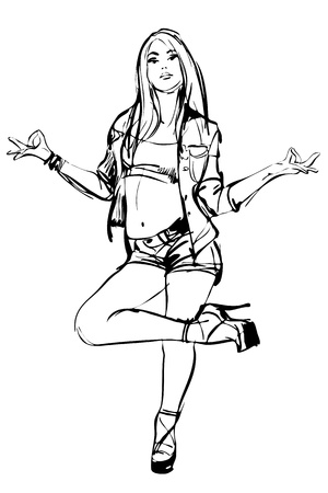 sexy girl posing: sketch of posing girl on white background