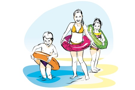 sketch of children playing on the beach Vector