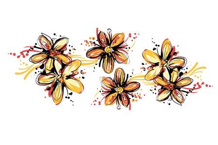 꽃이 만발한: 싹의 스케치 색상을 꽃이 만발한 일러스트