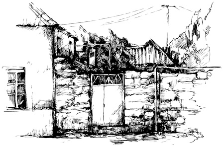 provincial:  sketch of provincial small town landscape house gate in a fence fence Illustration