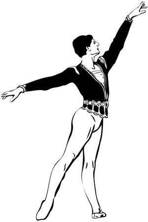 sketch male ballet dancer standing in pose Vector