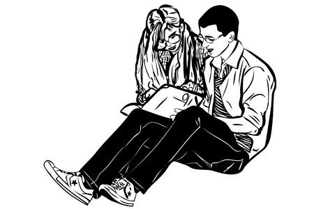 sketch a fellow and girl read book Vector