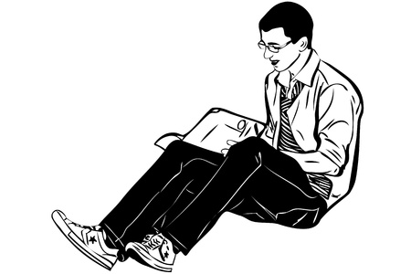 brown haired: guy with glasses sitting and reading a book