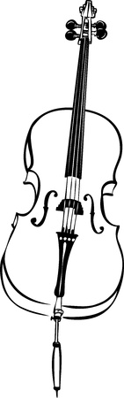 cello: sketch of musical string instrument stringed cello Illustration