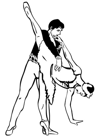 sketch pair of dancers are in the dance pose Vector