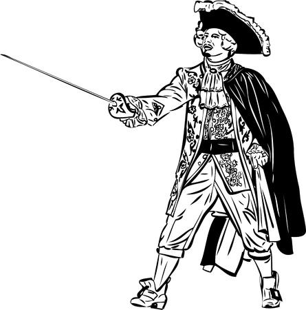 mosquetero: dibujo de un hombre con una espada sombrero capa