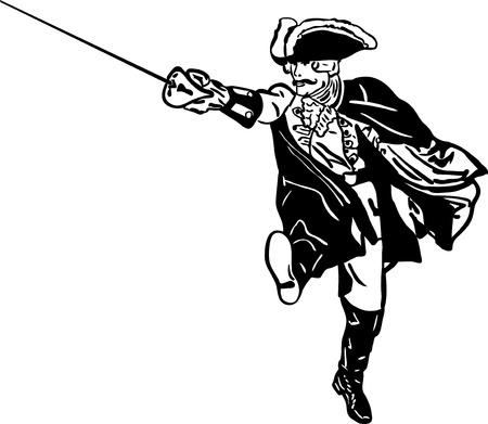 mosquetero: retro soldado con una espada que se ejecuta en ataque