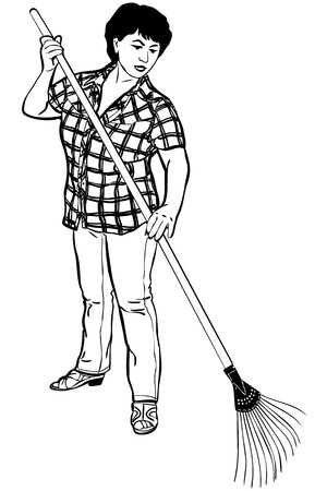 rakes: a sketch of woman of farmer with rakes in hands Illustration