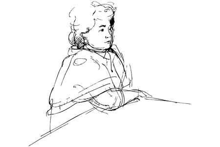 blackly: sketch of complete woman being at a table Illustration