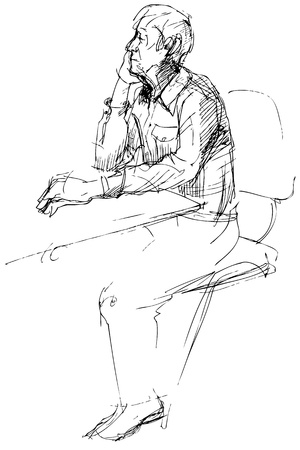 blackly: sketch of not young man of being at a table Illustration