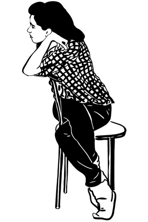 blackly: sketch girl a brunette sits on a chair Illustration