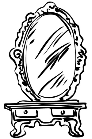 blackly: sketch of large mirror on a dressing-table
