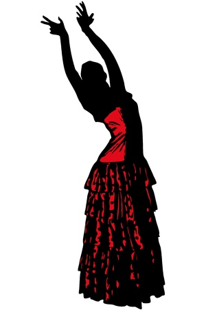 spanish woman: a sketch of a girl in dance pose Flamenco Illustration