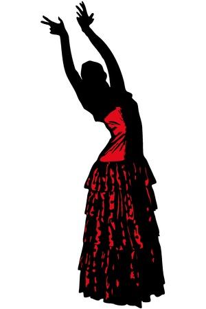 donna spagnola: uno schizzo di una ragazza in posa di danza Flamenco Vettoriali