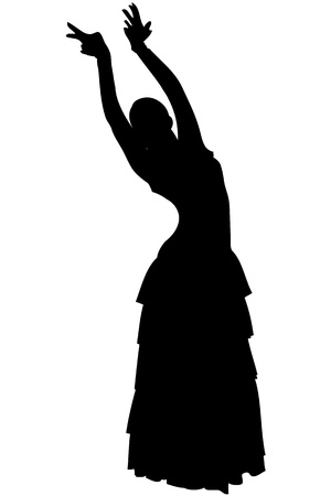 spanish woman: a sketch of a girl in dance pose Flamenco Stock Photo