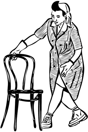 legs up: sketch cleaner in rubber gloves with a chair Illustration