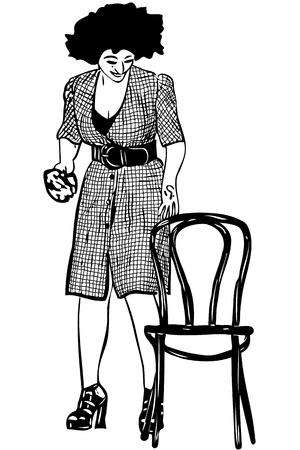 blackly: a sketch a cleaner holds rag with a chair