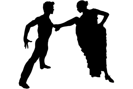 merrily: man and girl in the pose of dance Flamenco