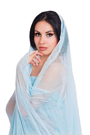 portrait of a young woman in a blue scarf Stock Photo