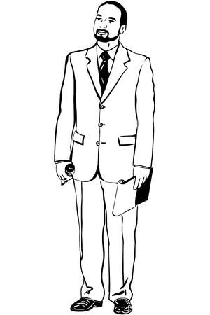 sketch of man in an overwhites with a microphone Stock Vector - 16481175
