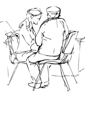 woman back of head: uno schizzo di un compagno e una ragazza sono a un tavolo