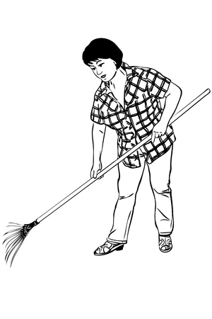 rakes: sketch of woman of farmer with rakes in hands
