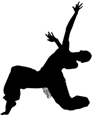 merrily: silhouette  and girl in the pose of dance