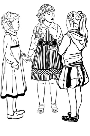 blackly: sketch three girl-friends of girl speak in dresses Illustration