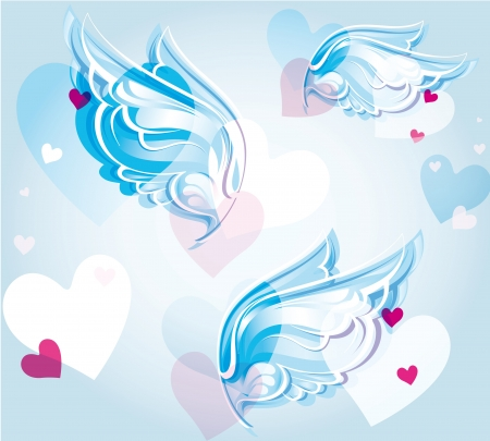 jointless: abstract background with wings and hearts Illustration