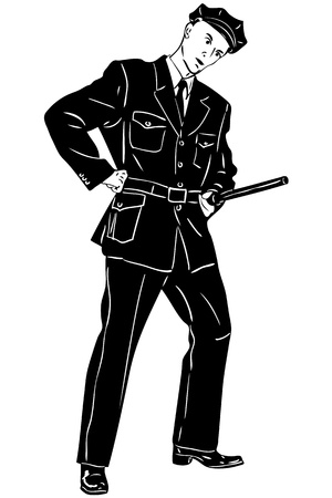 blackly: sketch man policeman with a club on service