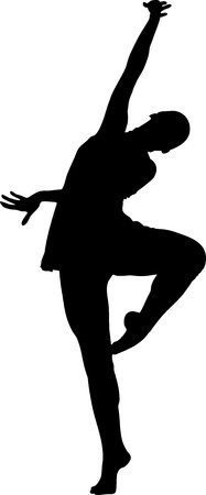 silhouette  and girl in the pose of dance Illustration