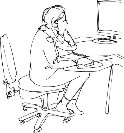 woman back of head: disegnare una ragazza si siede e lavora al computer