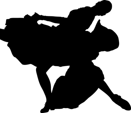 merrily: silhouette  and girl in the pose of dance Illustration