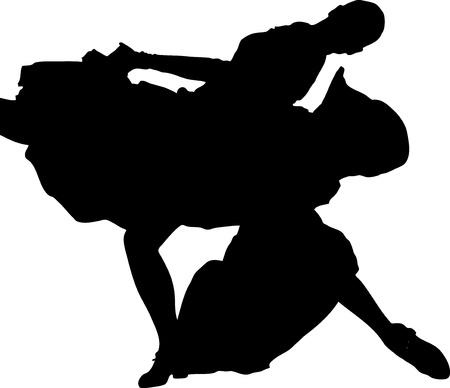 merrily: silhouette e ragazza in posa di danza